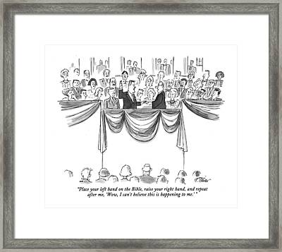 Place Your Left Hand On The Bible Framed Print