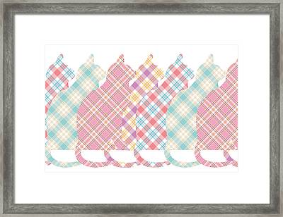 Plaid Cats Framed Print by Peggy Collins
