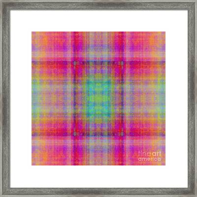 Plaid In Pink 1 Square Framed Print
