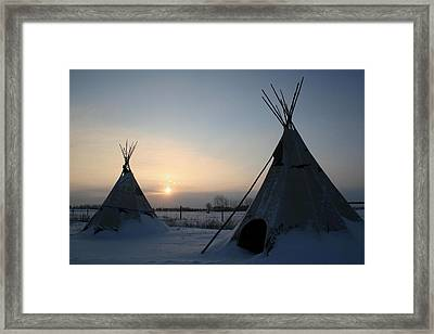 Plains Cree Tipi Framed Print by Larry Trupp