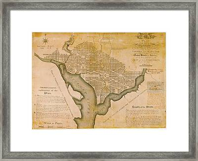 Plan For Washington D.c. Framed Print by American Philosophical Society