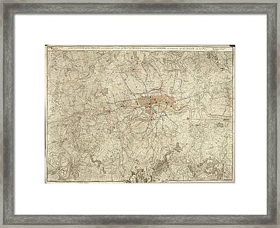 Plan Of Encampments In London Framed Print