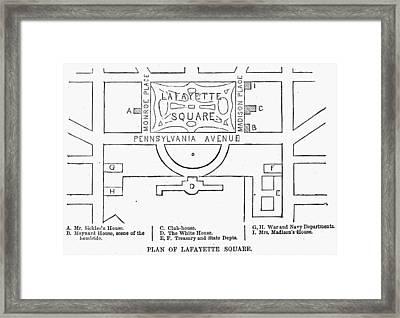 Plan Of Lafayette Square Framed Print by Granger