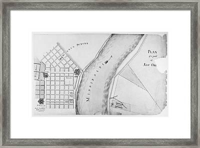 Plan Of New Orleans, 1814 Framed Print by Granger
