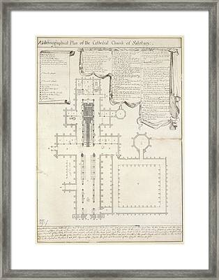 Plan Of Salisbury Cathedral Framed Print by British Library