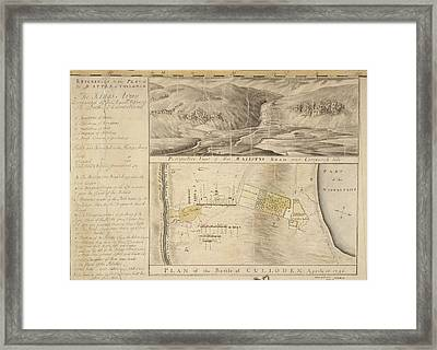 Plan Of The Battle Of Culloden Framed Print by British Library