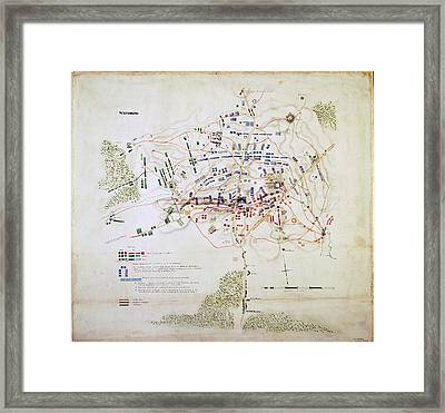Plan Of The Battle Of Waterloo Framed Print by British Library