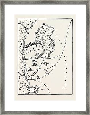 Plan Of The Defeat Of The American Fleet, Under Benedict Framed Print by English School
