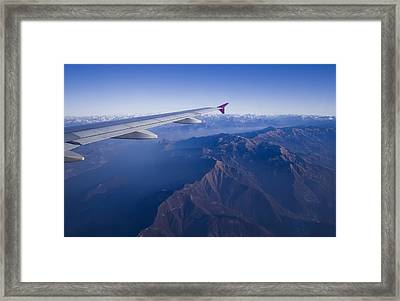 Plane Flying In Mountain Framed Print by Ioan Panaite