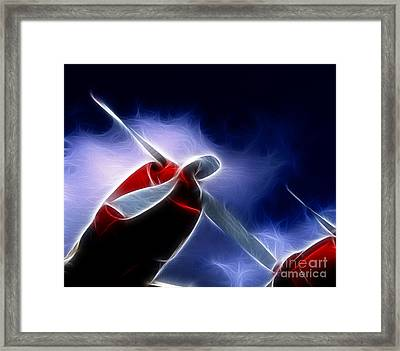 Plane Into The Blue Framed Print by Paul Ward