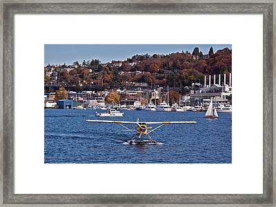 Plane On Lake Union Seattle Framed Print