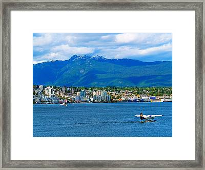Planes Boats And Mountains In Vancouver  Framed Print by Carol Cottrell