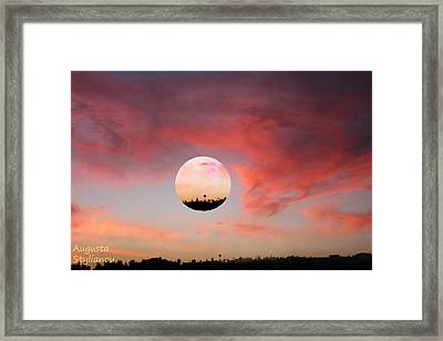 Planet And Sunset Framed Print by Augusta Stylianou