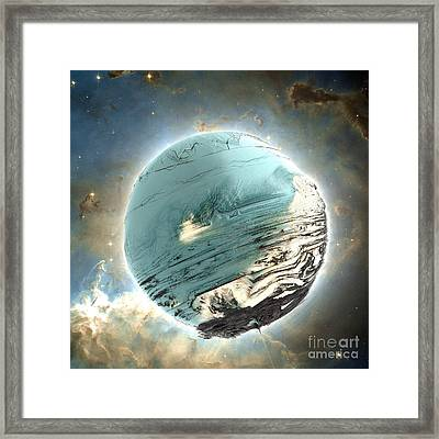 Planet Blue Framed Print by Bernard MICHEL