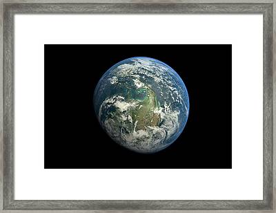 Planet Earth Against Black Background Framed Print by Vitalij Cerepok / Eyeem