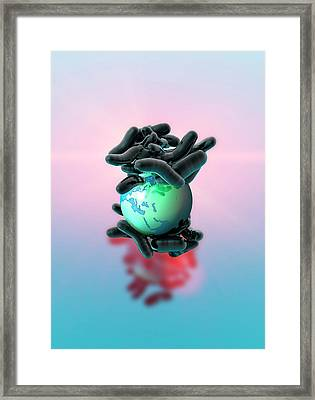 Planet Earth And Bacteria Framed Print by Victor Habbick Visions