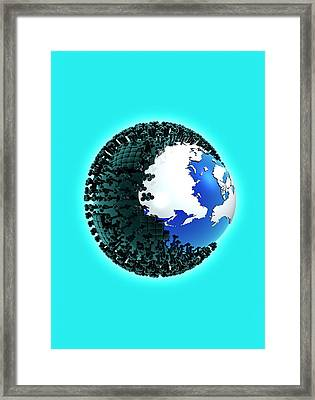 Planet Earth And Virus Framed Print by Victor Habbick Visions