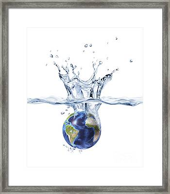Planet Earth Falling Into Clear Water Framed Print