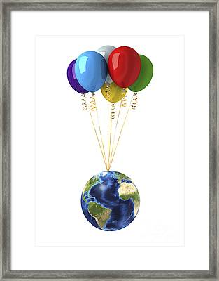 Planet Earth Lifted By A Bunch Framed Print by Leonello Calvetti