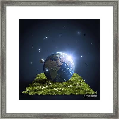 Planet Earth Lying On A Green Lawn Framed Print