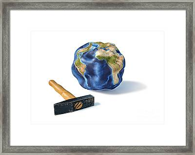 Planet Earth Smashed By A Hammer Framed Print by Leonello Calvetti