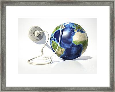 Planet Earth With Electric Cable, Plug Framed Print by Leonello Calvetti