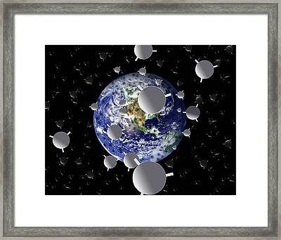 Planet Earth With Mirrors In Space Framed Print by Victor De Schwanberg
