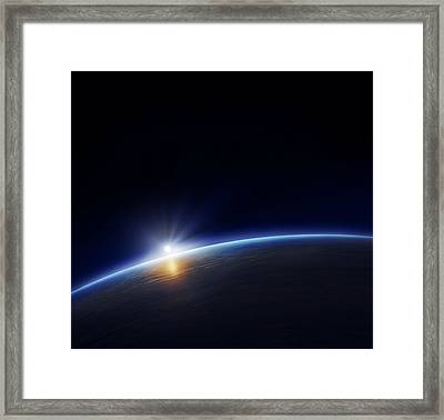 Planet Earth With Rising Sun Framed Print by Johan Swanepoel