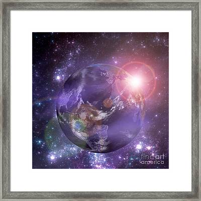 Planet Earth With The Rising Sun Framed Print by Martin Capek