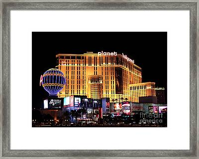 Planet Hollywood At Night Framed Print by John Rizzuto