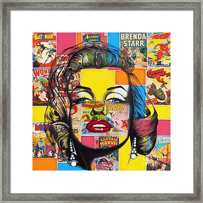 Framed Print featuring the mixed media Planet Marilyn by Joseph Sonday