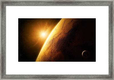 Planet Mars Close-up With Sunrise Framed Print by Johan Swanepoel