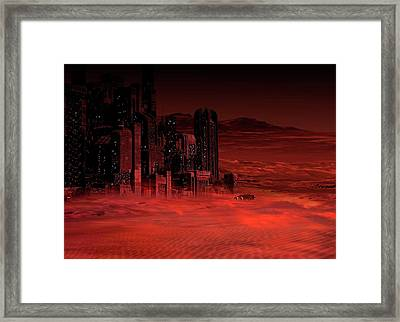 Planet Mars In The Future Framed Print by Victor Habbick Visions