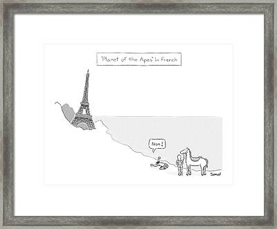 Planet Of The Apes In French -- The Eiffel Tower Framed Print