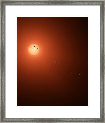 Planets Transit Trappist-1 Framed Print by Science Source