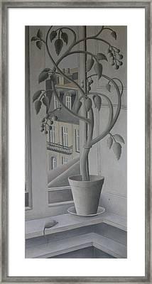 Plant In Window, Oil On Panel Framed Print