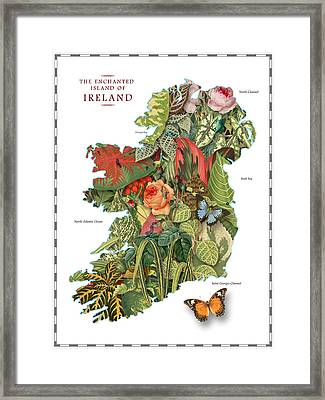 Plant Map Of Ireland Framed Print by Gary Grayson
