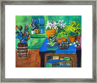 Plants In Potting Shed Framed Print