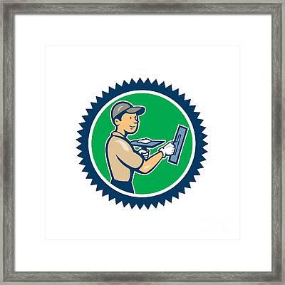 Plasterer Masonry Worker Rosette Cartoon Framed Print by Aloysius Patrimonio