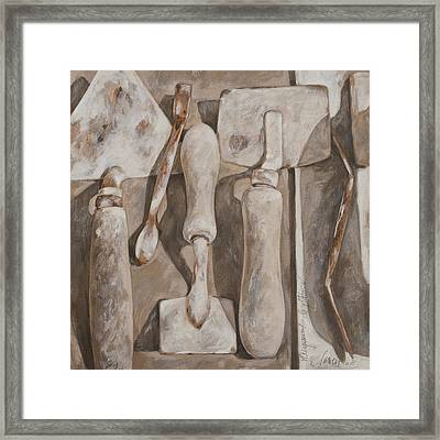 Plasterer's Tools Framed Print by Anke Classen