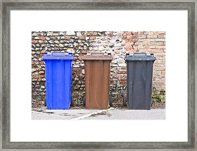 Plastic Bins Framed Print by Tom Gowanlock