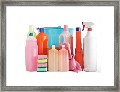 Plastic Detergent Bottles And Bucket Framed Print by Antonio Scarpi
