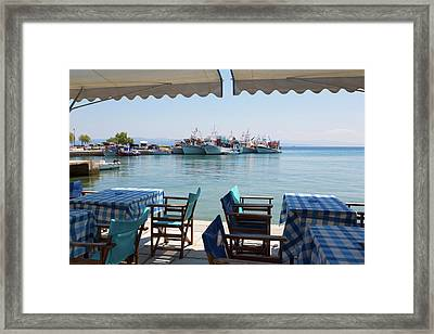 Platanias, Thessaly, Greece. Tables Framed Print
