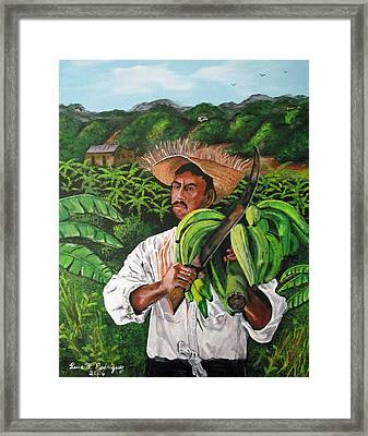 Platano Man Framed Print by Luis F Rodriguez