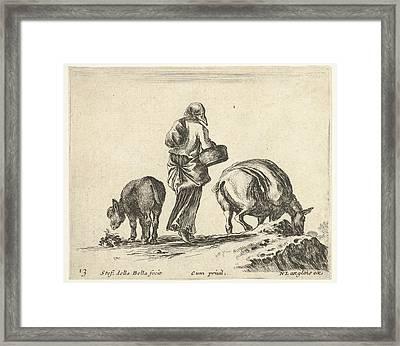 Plate 13 A Peasant Woman, Seen Framed Print by Stefano della Bella