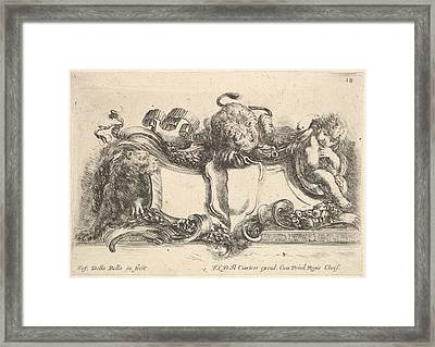 Plate 18 A Cartouche Containing An Framed Print by Stefano della Bella