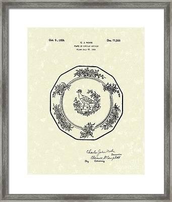 Plate 1926 Patent Art Framed Print by Prior Art Design