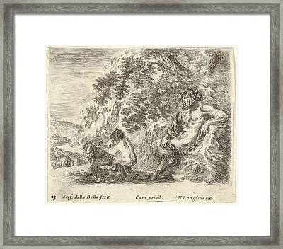 Plate 23 A Satyr Sitting Against A Tree Framed Print by Stefano della Bella