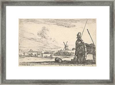 Plate 5 A Pikeman Standing At Right Framed Print by Stefano della Bella