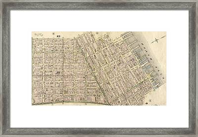 Plate 5 Bounded By Clinton Street, Madison Street Framed Print by Litz Collection